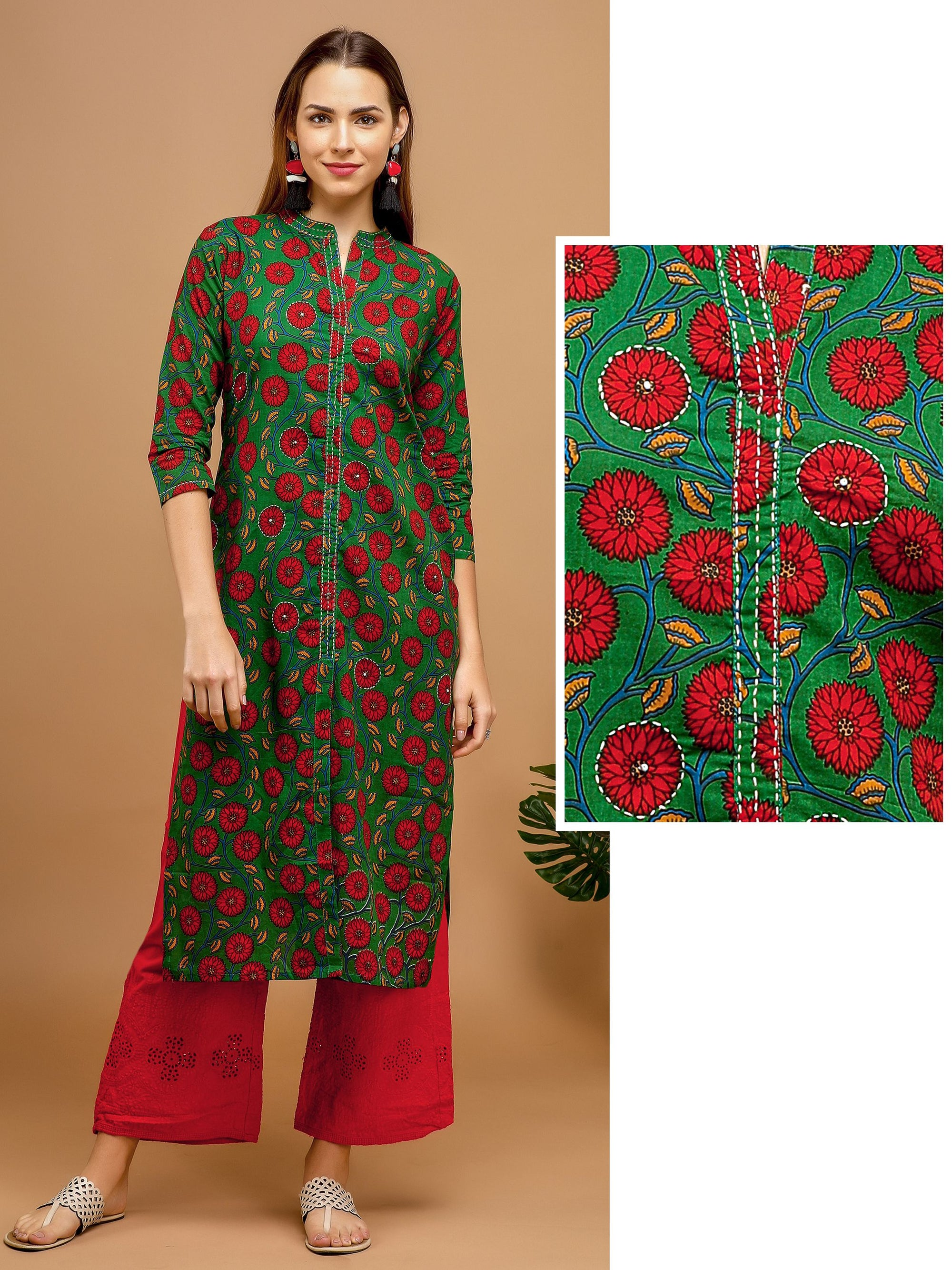All over Floral Printed Kurta – Green