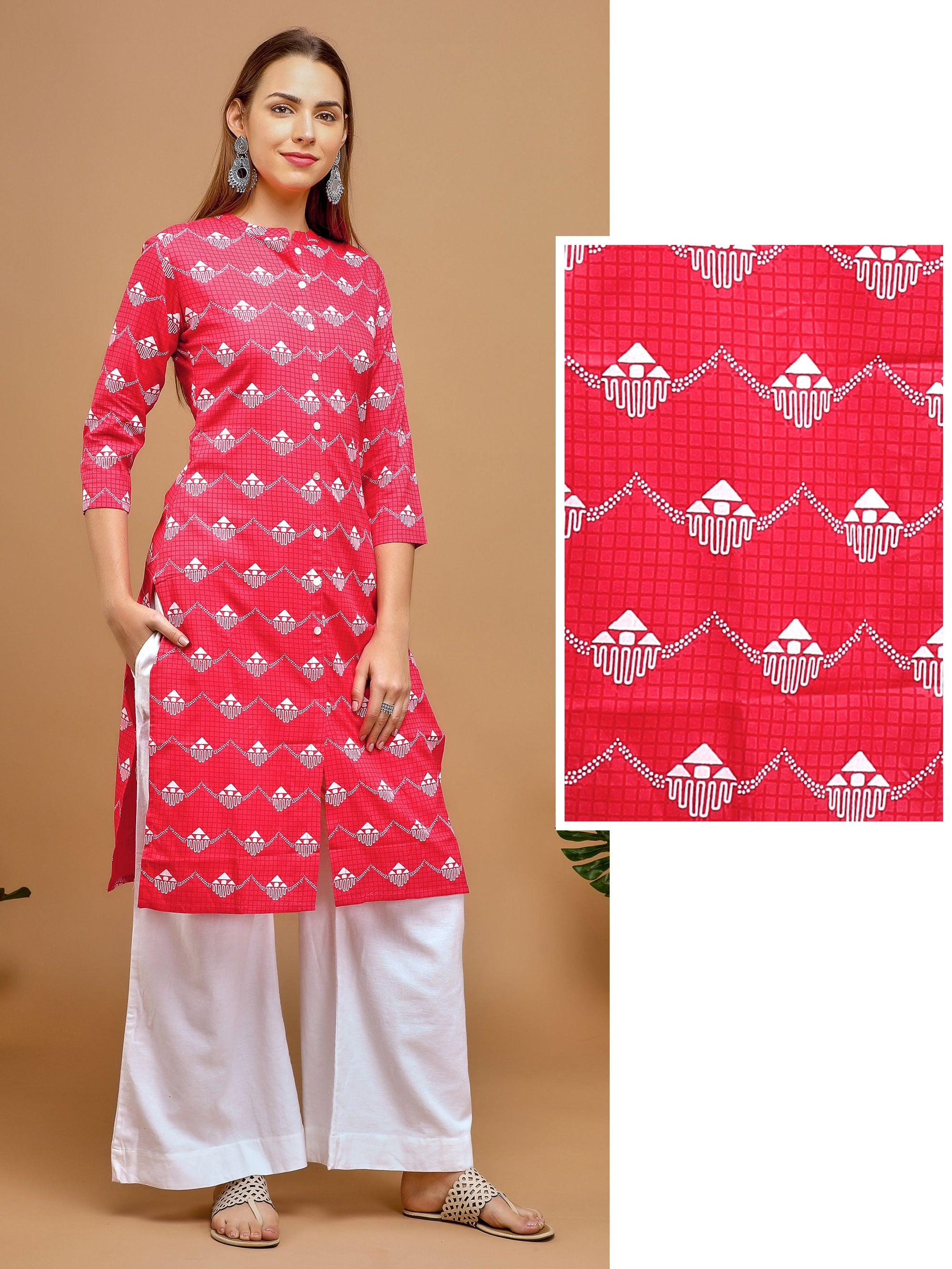 All over Self Chequered printed Kurta – Red