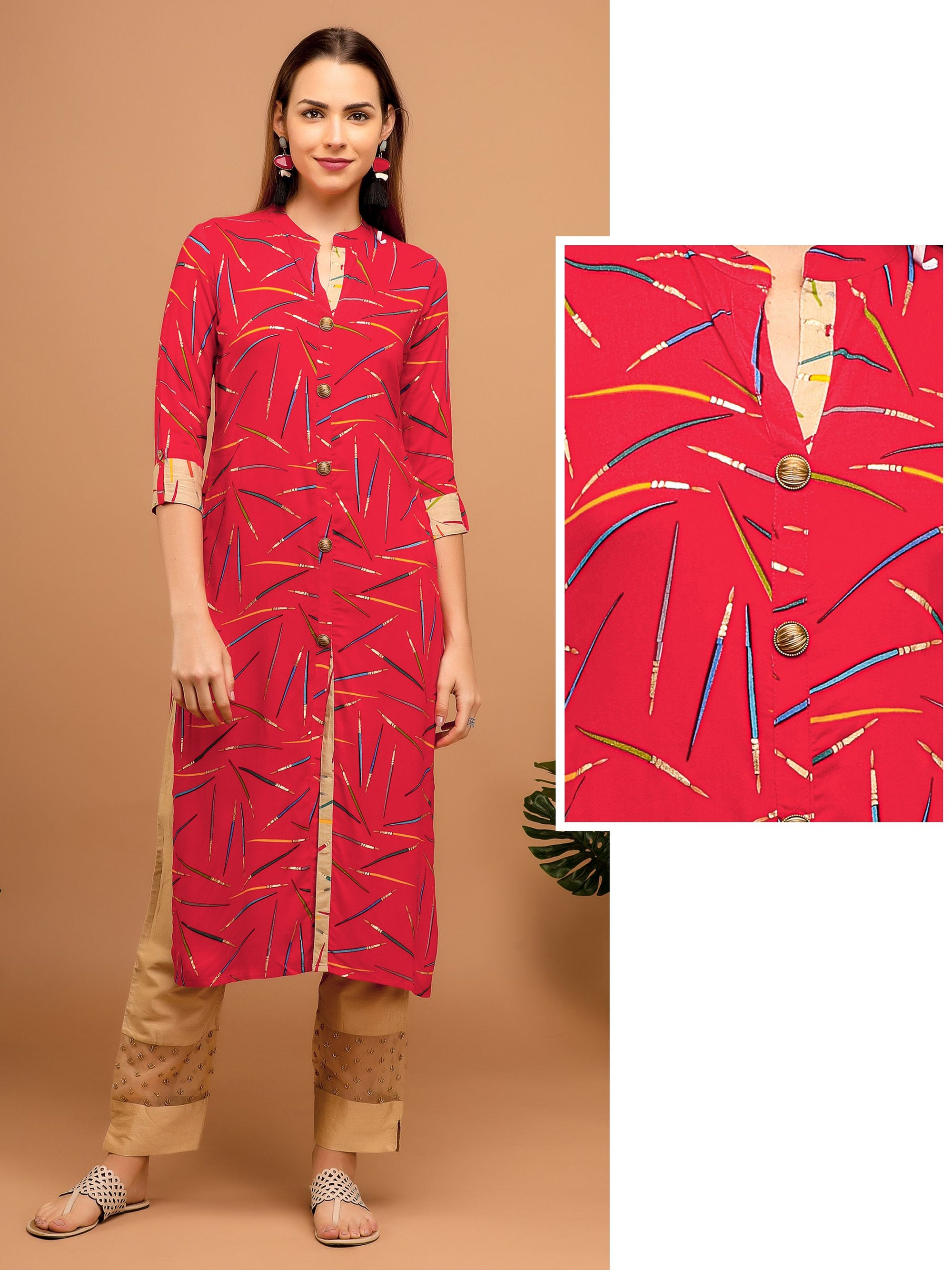 All over printed Kurta – Red