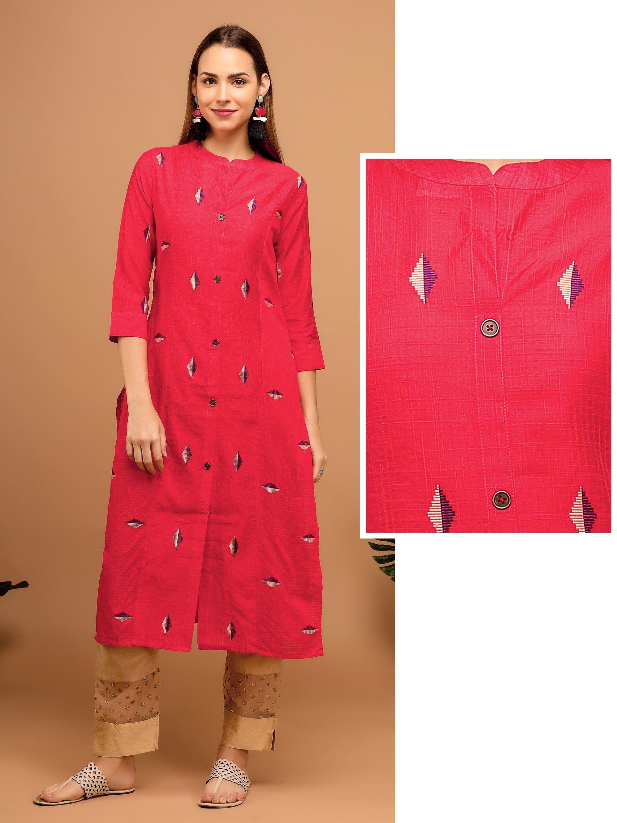 Geometric Embroidery Kurta