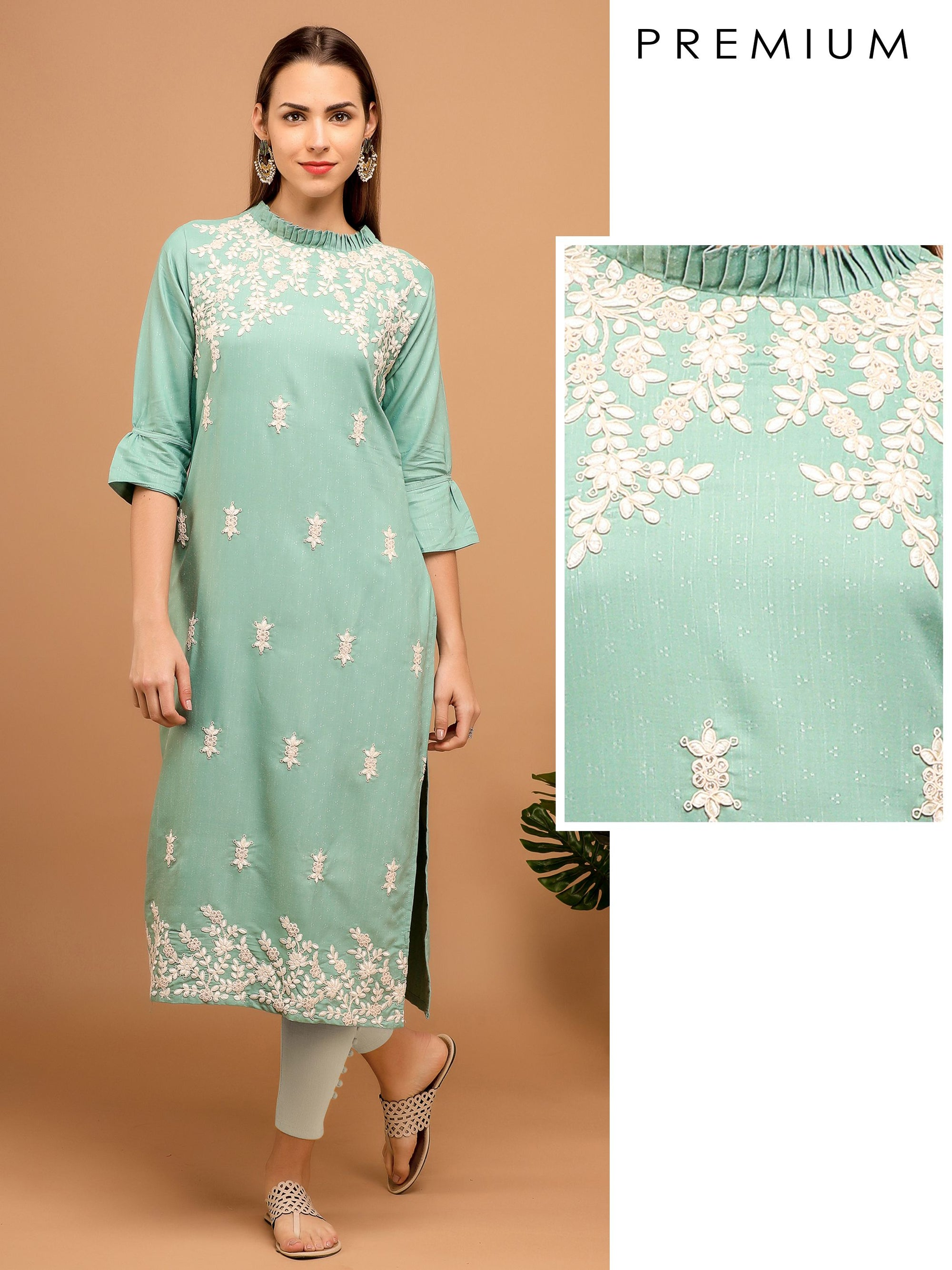 Floral Hand Embroidered Kurta