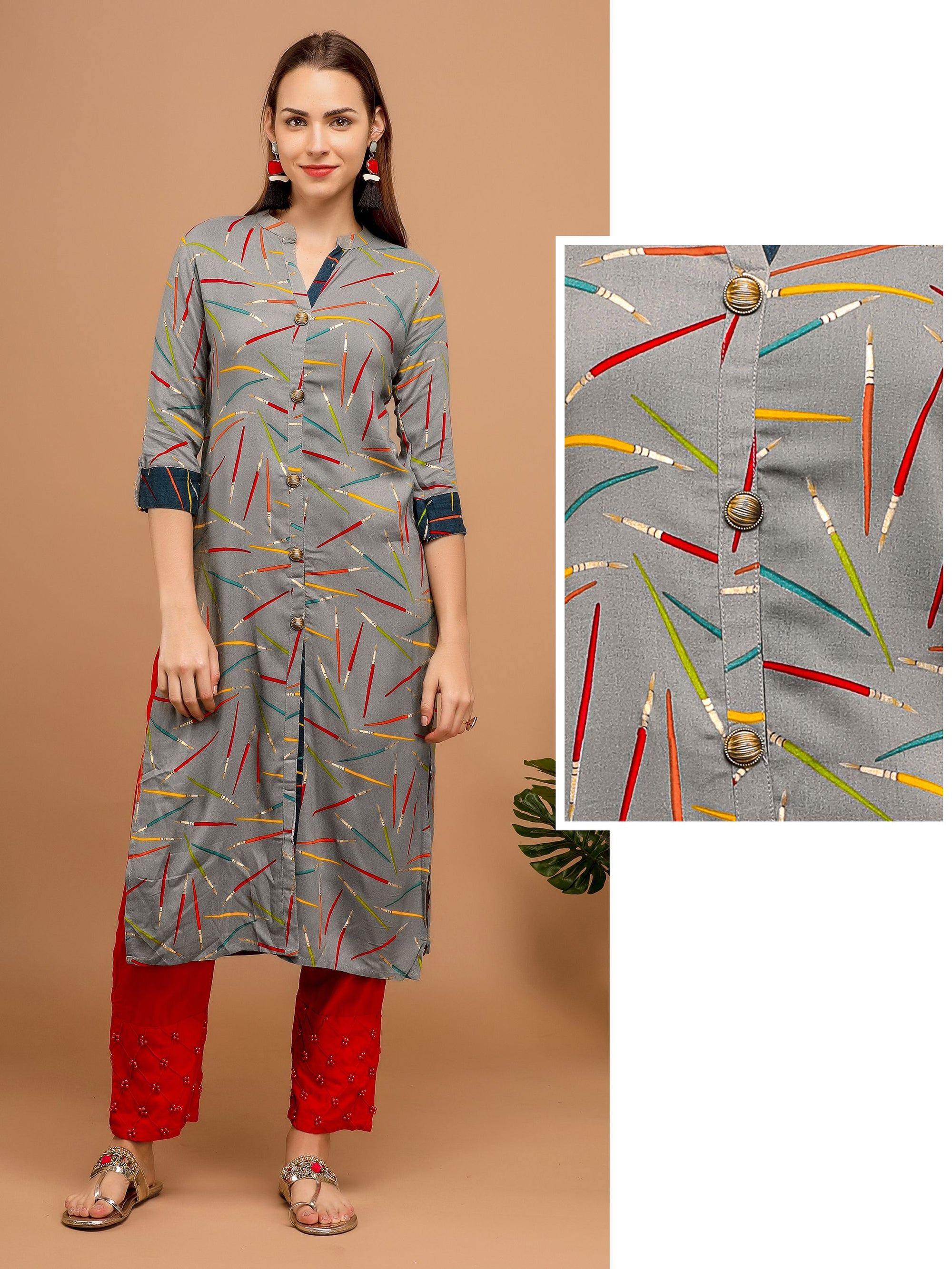 All over printed Kurta – Grey