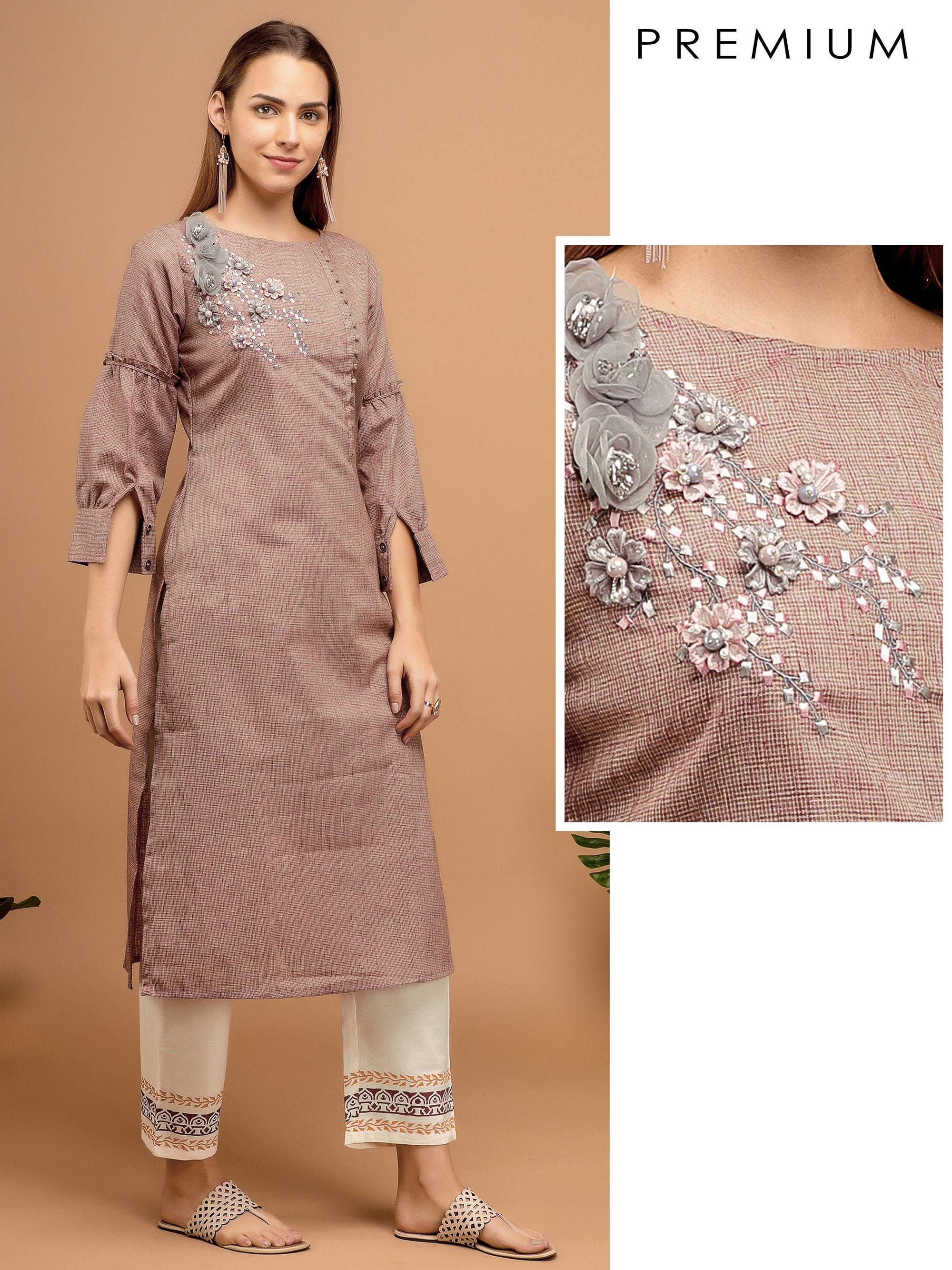 Floral Hand Bead Embroidered Kurta – Mauve