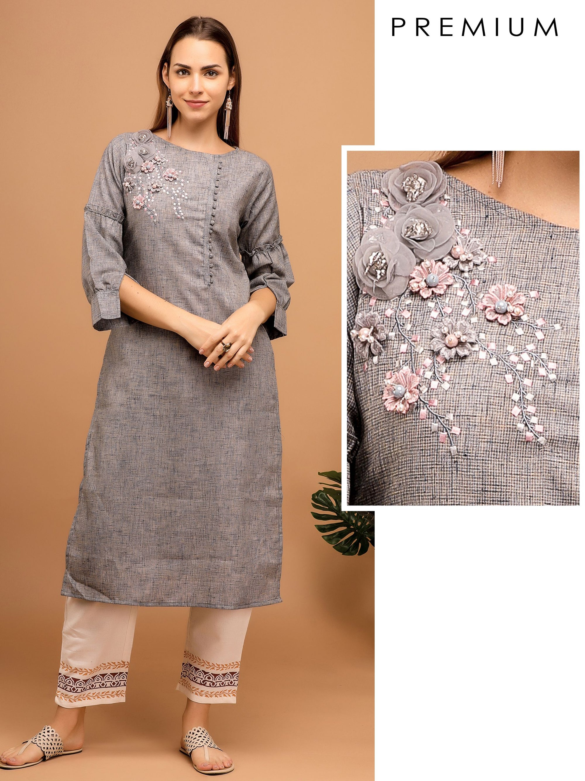 Floral Hand Bead Embroidered Kurta – Grey