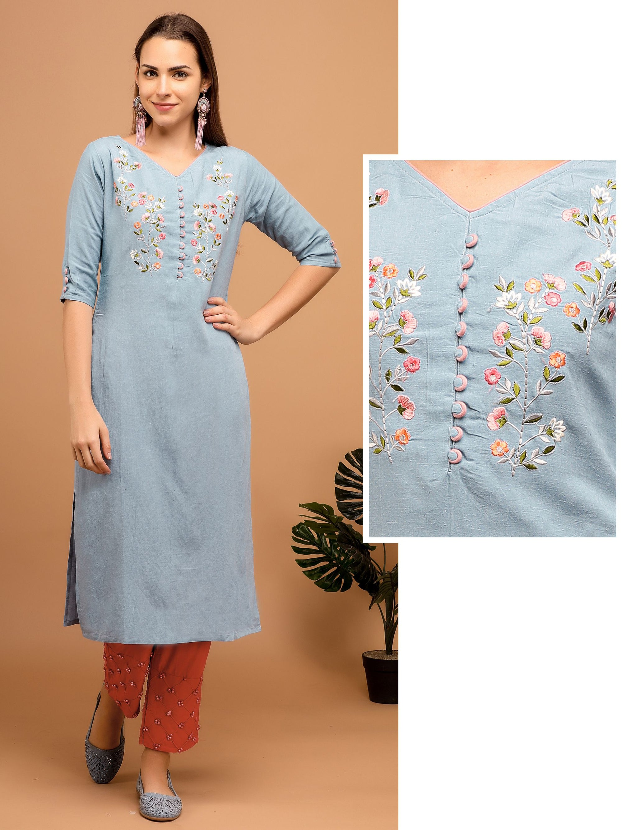 Floral Hand Bead Embroidered Kurta