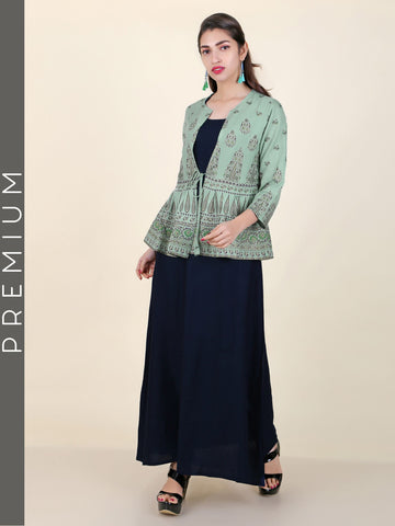 Solid Kurti with Printed Peplum Jacket