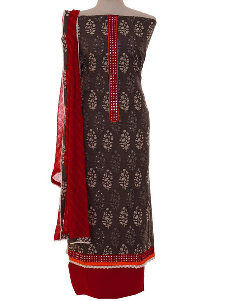 Batik Printed Cotton Unstitched Suit - Red