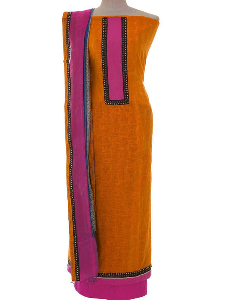 Printed Chanderi Unstitched Suit - Yellow