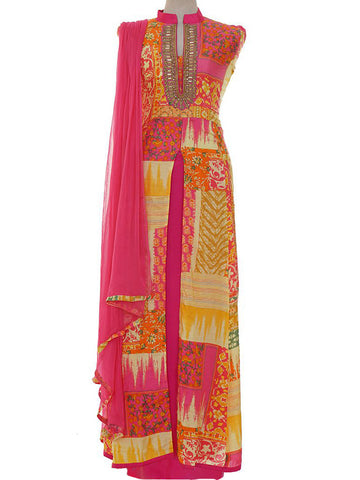 Printed Hand Embroidered Viscose-Crepe Semi-Stitched Suit