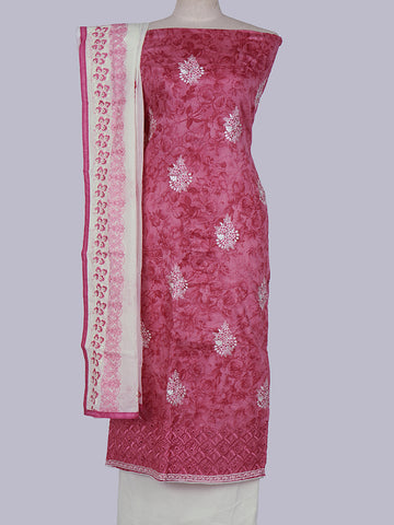 Resham Cutwork & Tone-on-tone Work Rose Printed Cotton Unstitched Suit Set