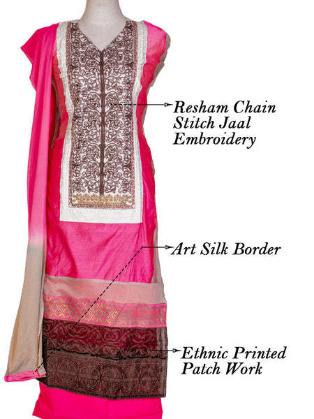 Chanderi Semi-Stitched Suit