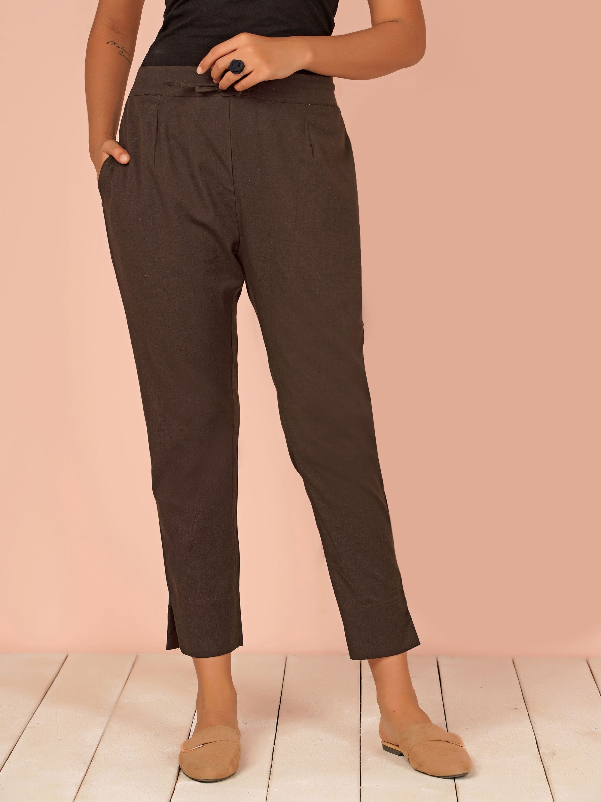 Tapered Cigarette Pants - Brown
