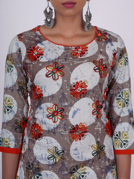 Foil Mirror & Resham Ari Work Tasselled Double Layered Kurti Warm Grey - Red