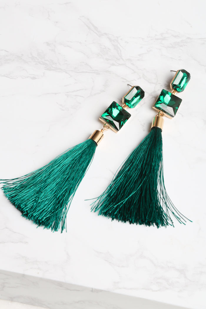 Emerald Ruby Tassel Earrings