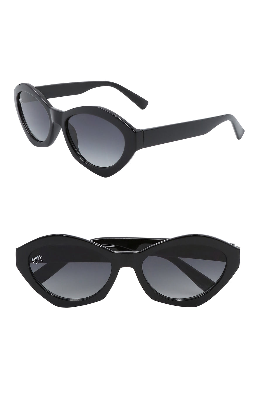 Bella Oval Sunnies | Gloss Black - NEM Fashion Store
