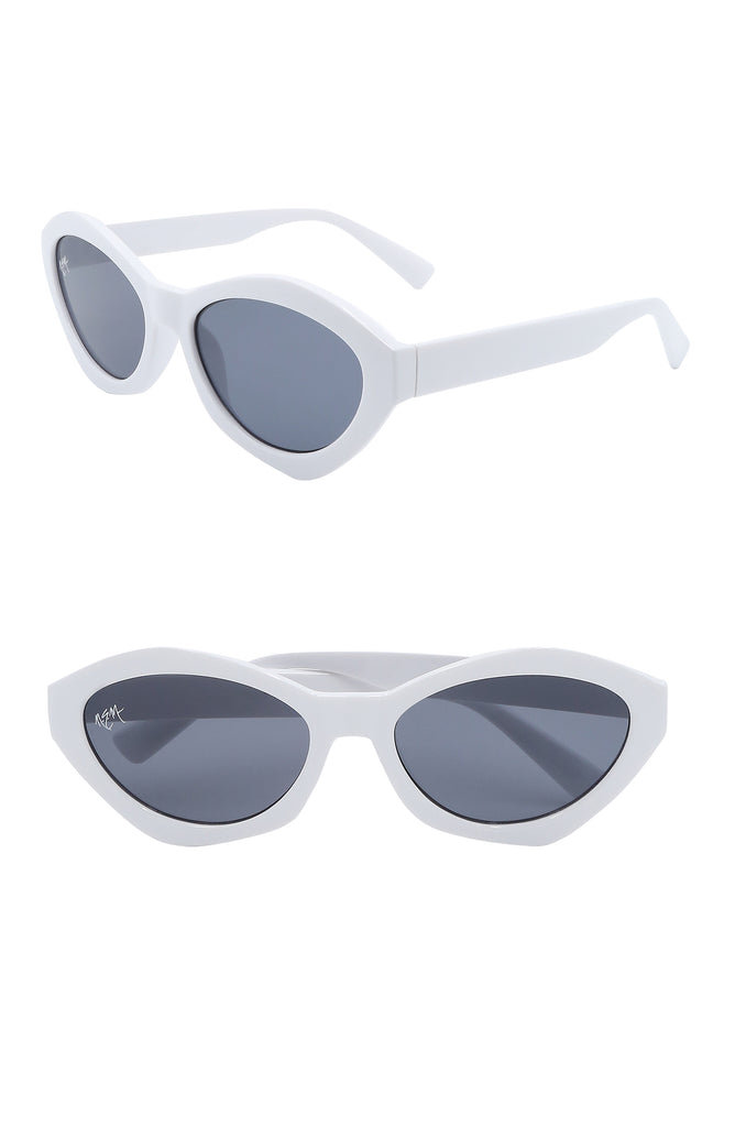 Bella Oval Sunnies | White - NEM Fashion Store