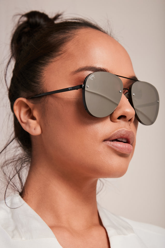 Silver On Black Sunnies | Fade To Black Collection - NEM Fashion Store