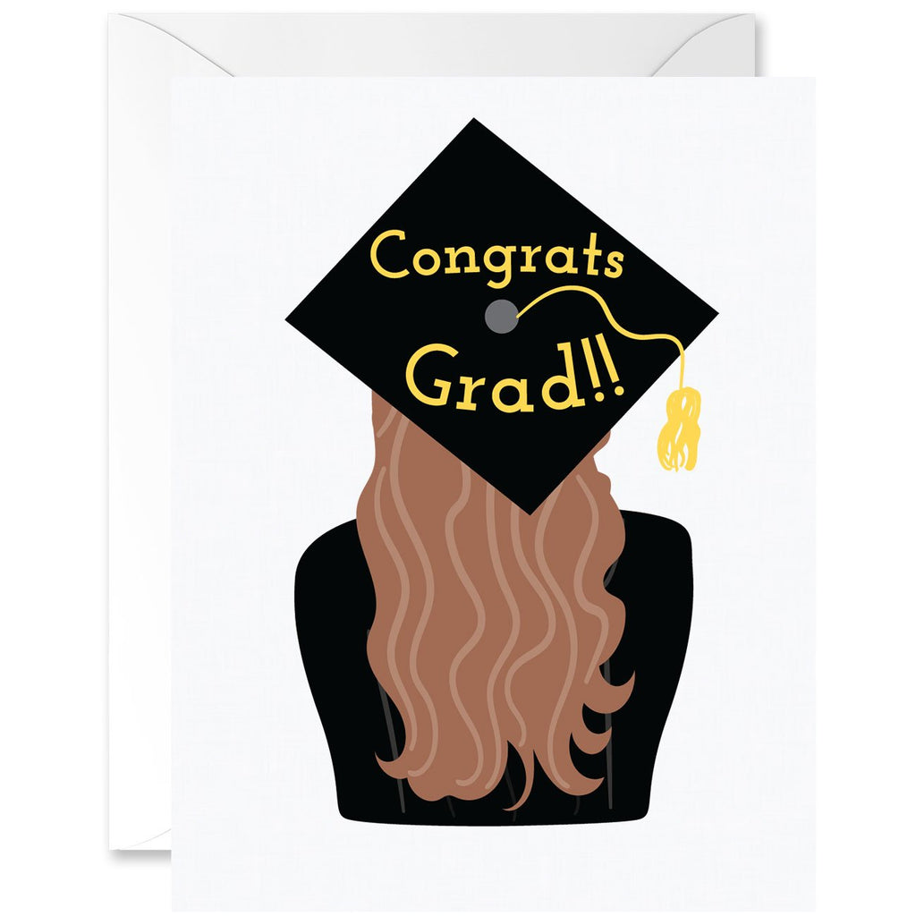 Congrats Grad Cap with Long Loose Curls Graduation Greeting Card [English]
