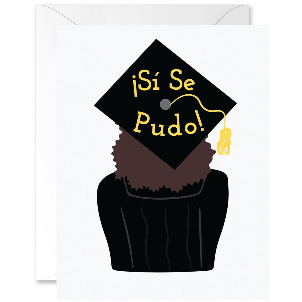 Sí Se Pudo Cap with Tight Curls Graduation Greeting Card [Spanish]
