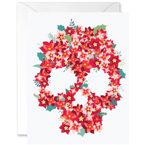 Poinsettias Flower Skull