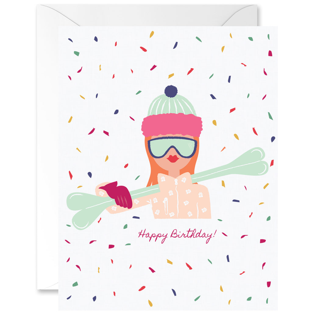 Cool Chick Skiing Birthday Red Hair Sand Skin Tone [English]