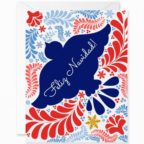 Otomi Navy Blue Dove Merry Christmas [Spanish]