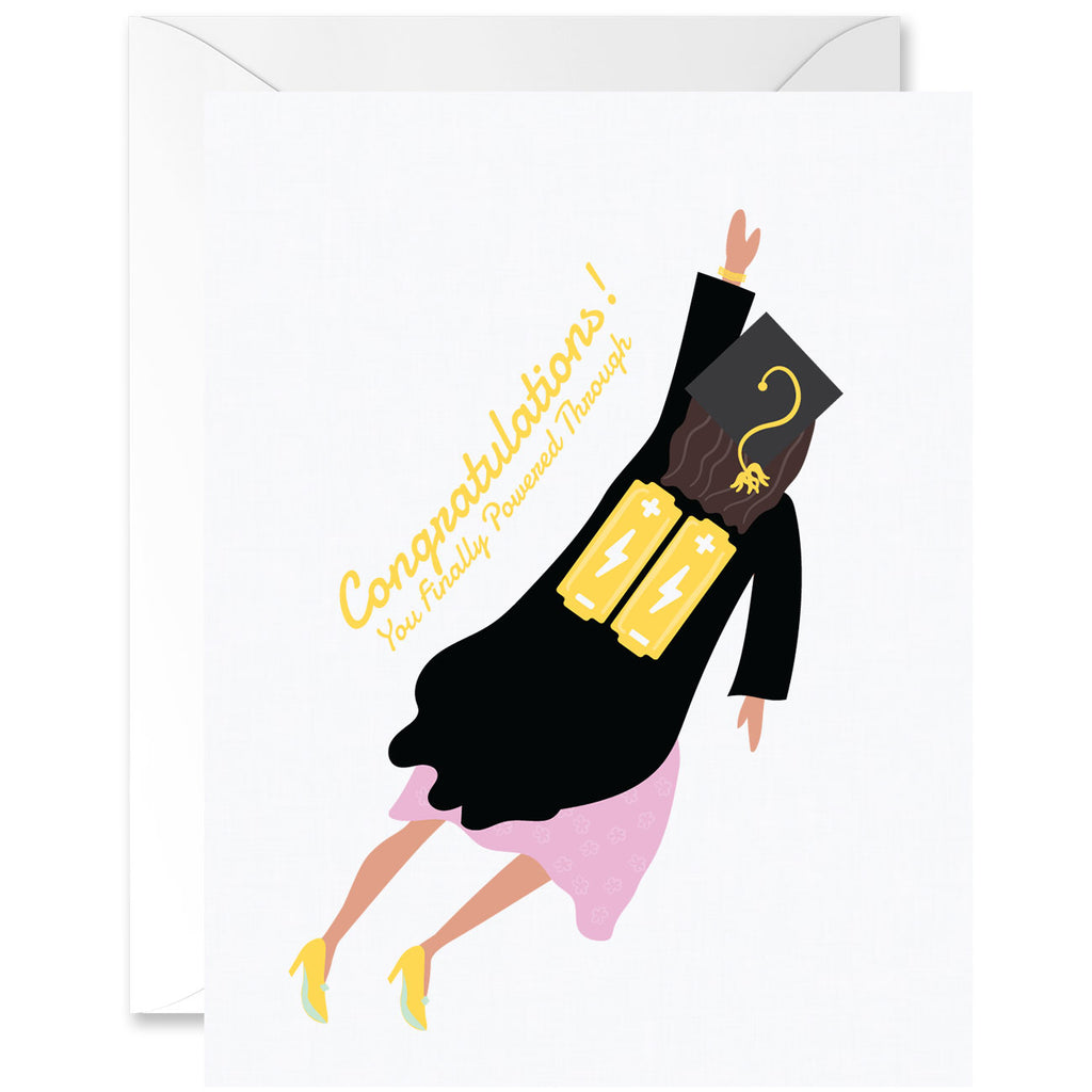 Congratulations For Powering Through Graduation Greeting Card - Woman Flying With Batteries [English]