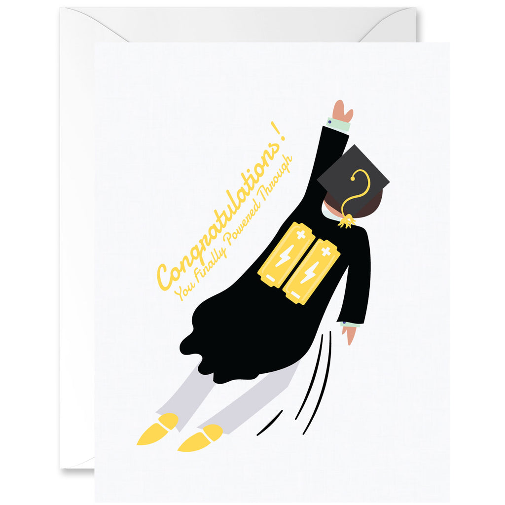 Congratulations For Powering Through Graduation Greeting Card - Man Flying With Batteries [English]