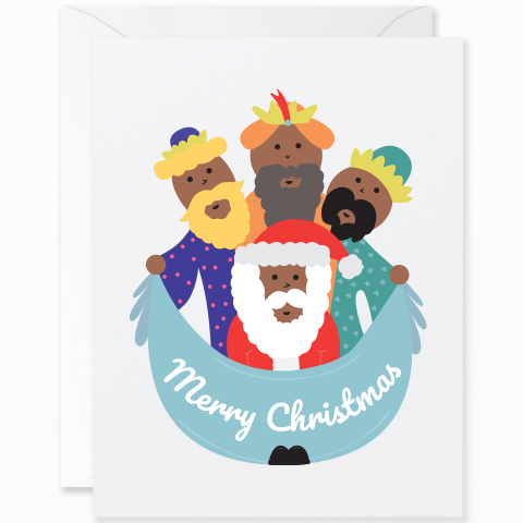 Merry Christmas Three Wise Men and Santa Mocha Skin Tone [English]
