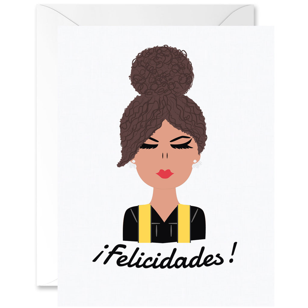 Hey Chica Curly Hair Almond Skin Tone with Yellow Sash Graduation Greeting Card [Spanish]