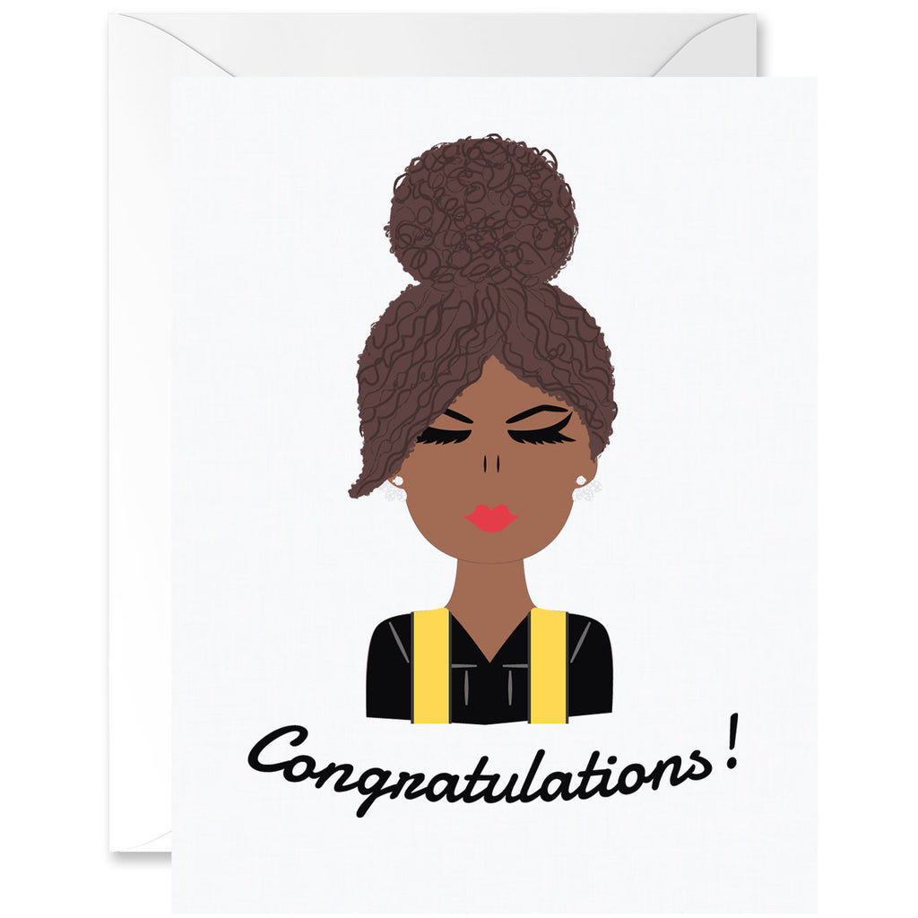 Chica Curly Hair Mocha Skin Tone with Yellow Sash Graduation Greeting Card [English]