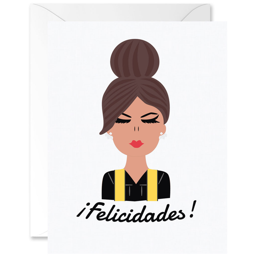 Chica Straight Hair Almond Skin Tone with Yellow Sash Graduation Greeting Card [Spanish]