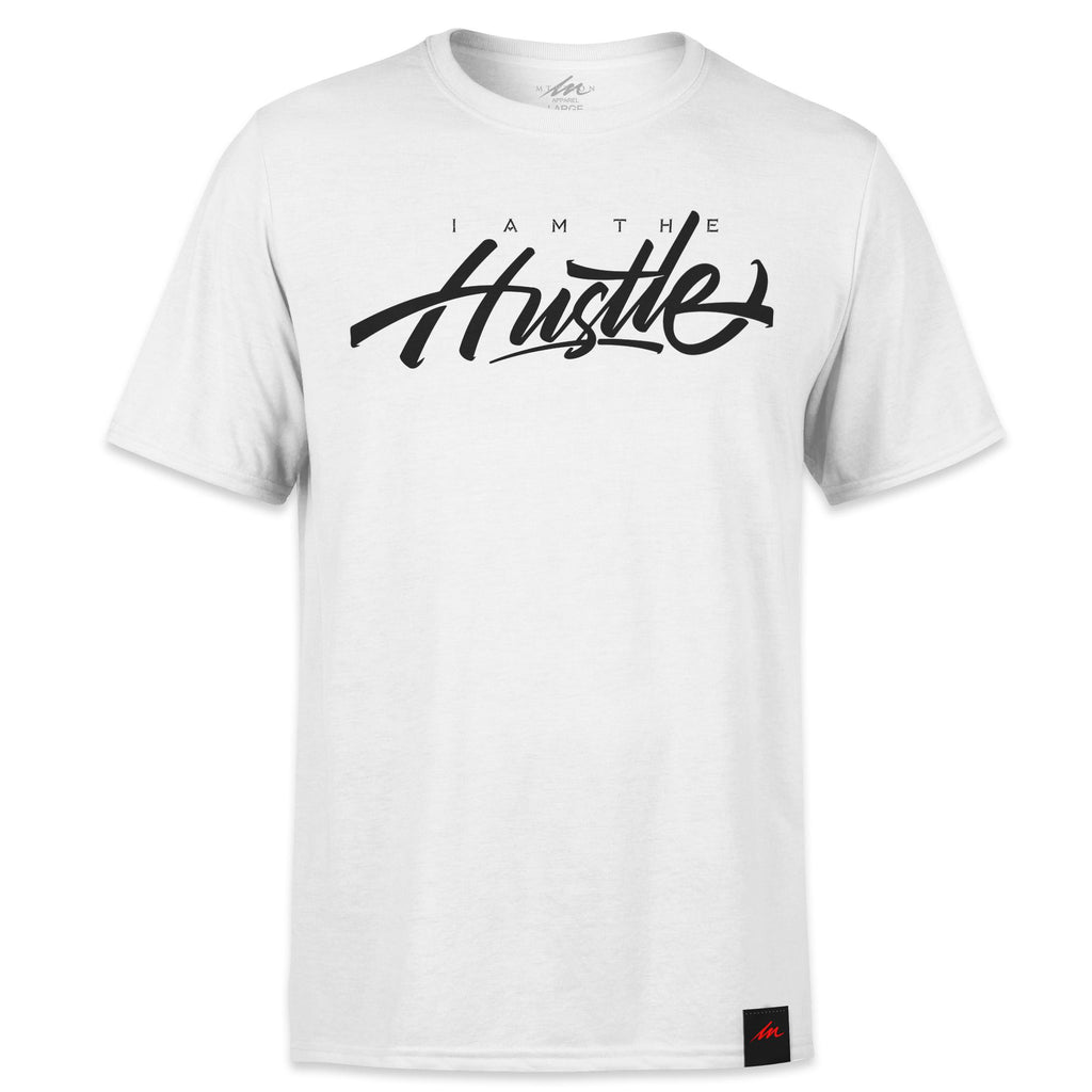 I Am The Hustle Black Graffito - White Shirt-money_motivation_brand