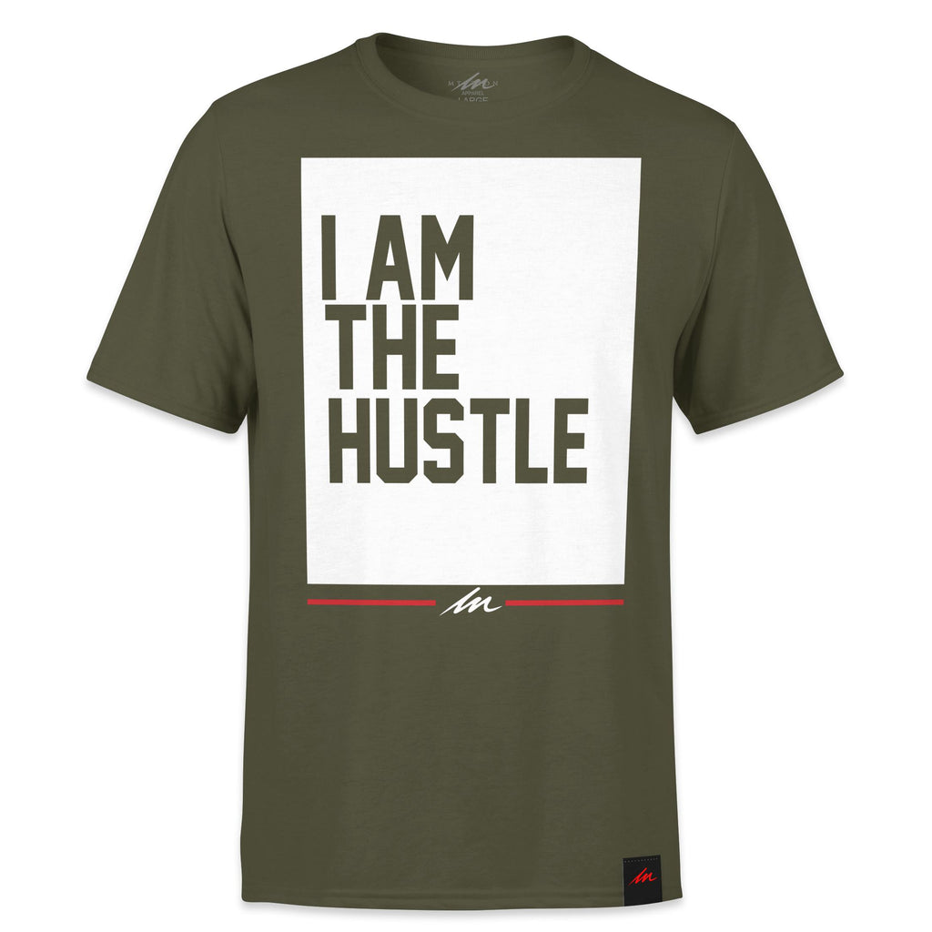I Am The Hustle Flag - Military Green Shirt-money_motivation_brand