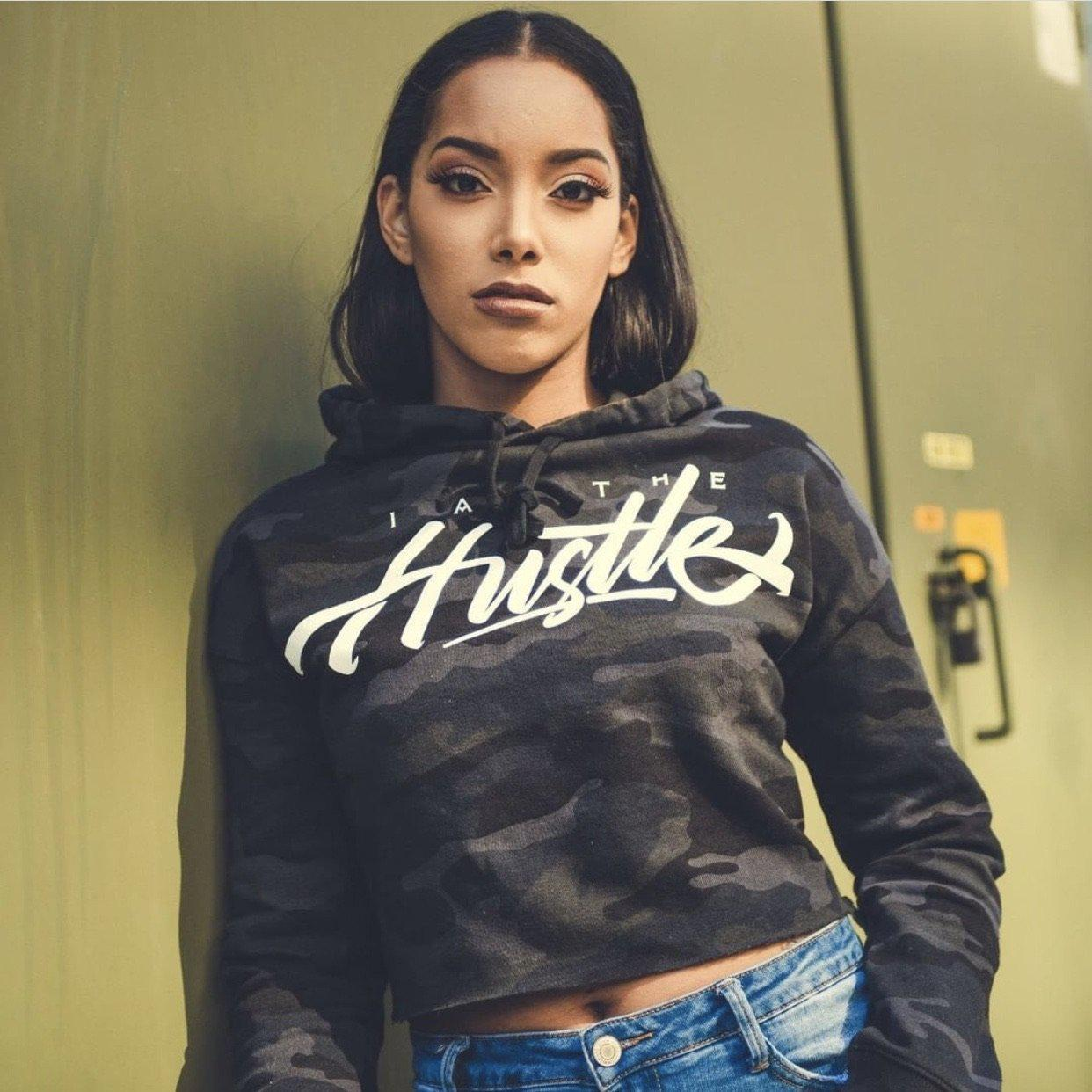 Ladies I Am The Hustle White Graffito - Black Camo Crop Hoodie-money_motivation_brand
