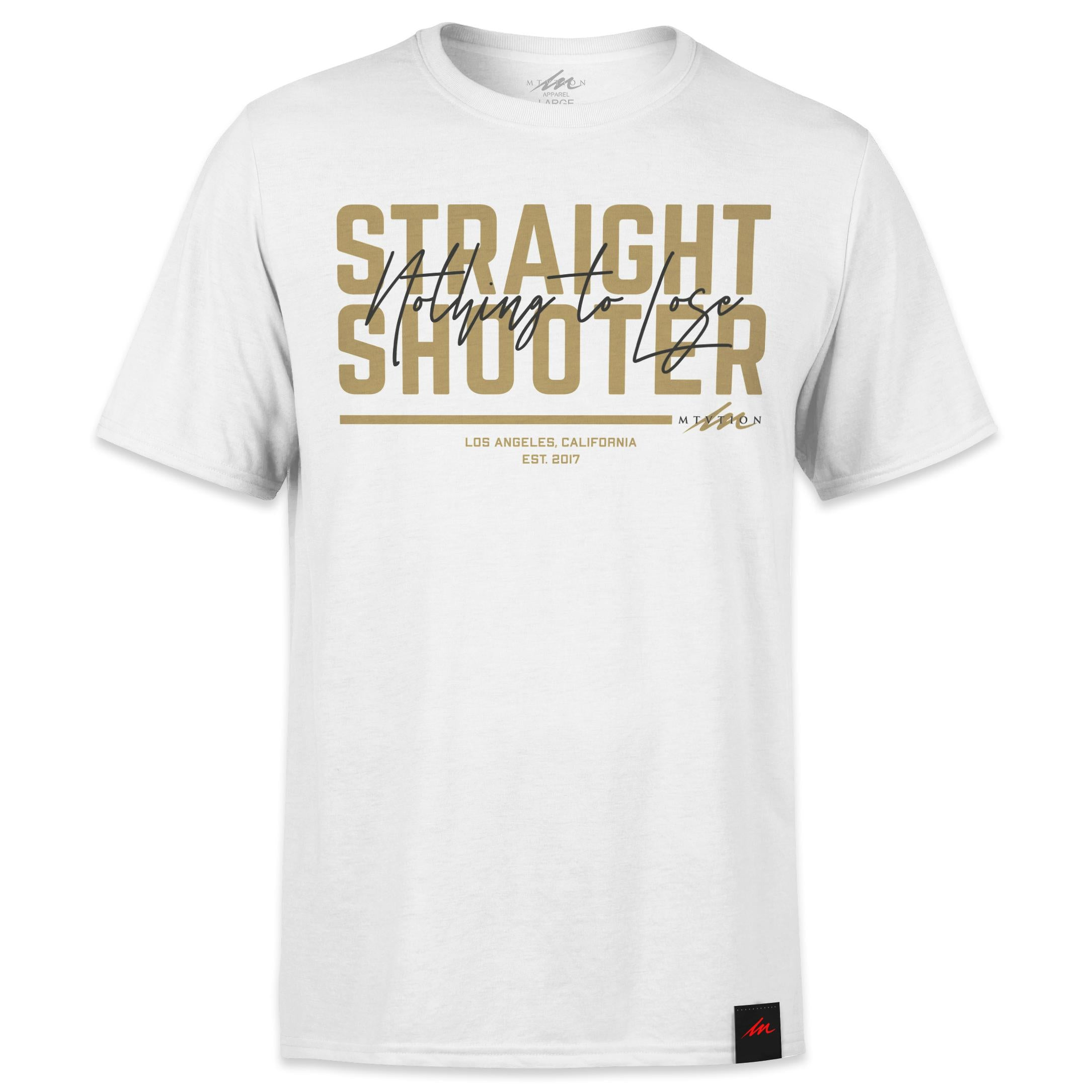 Straight Shooter Gold - White Shirt-money_motivation_brand