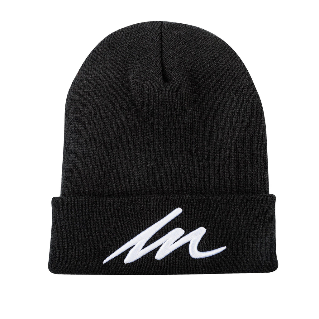 White Sand MM Black Cuffed Beanie-money_motivation_brand