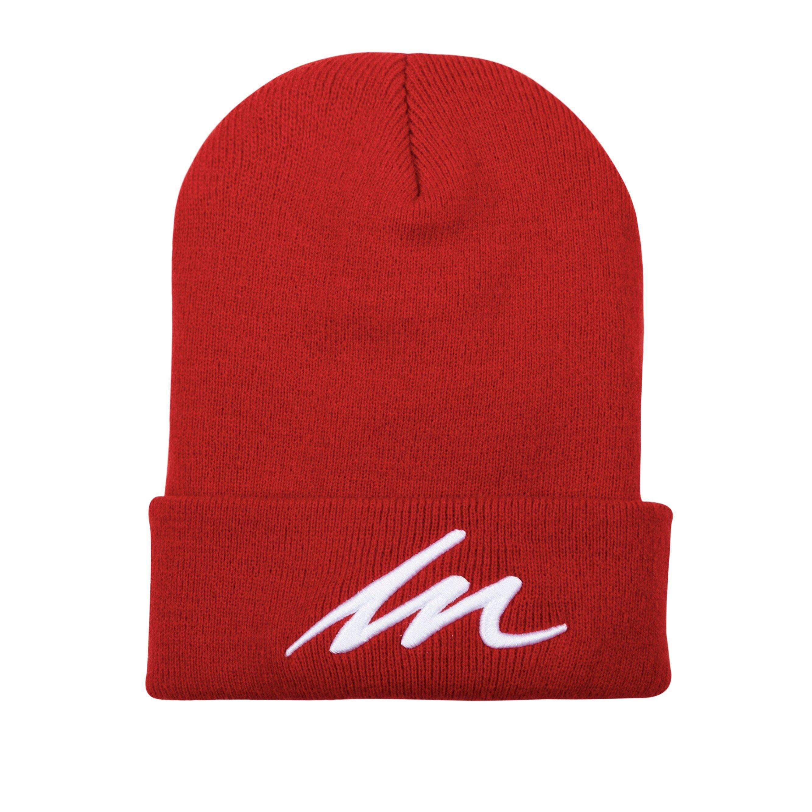 White Sand MM Red Cuffed Beanie-money_motivation_brand