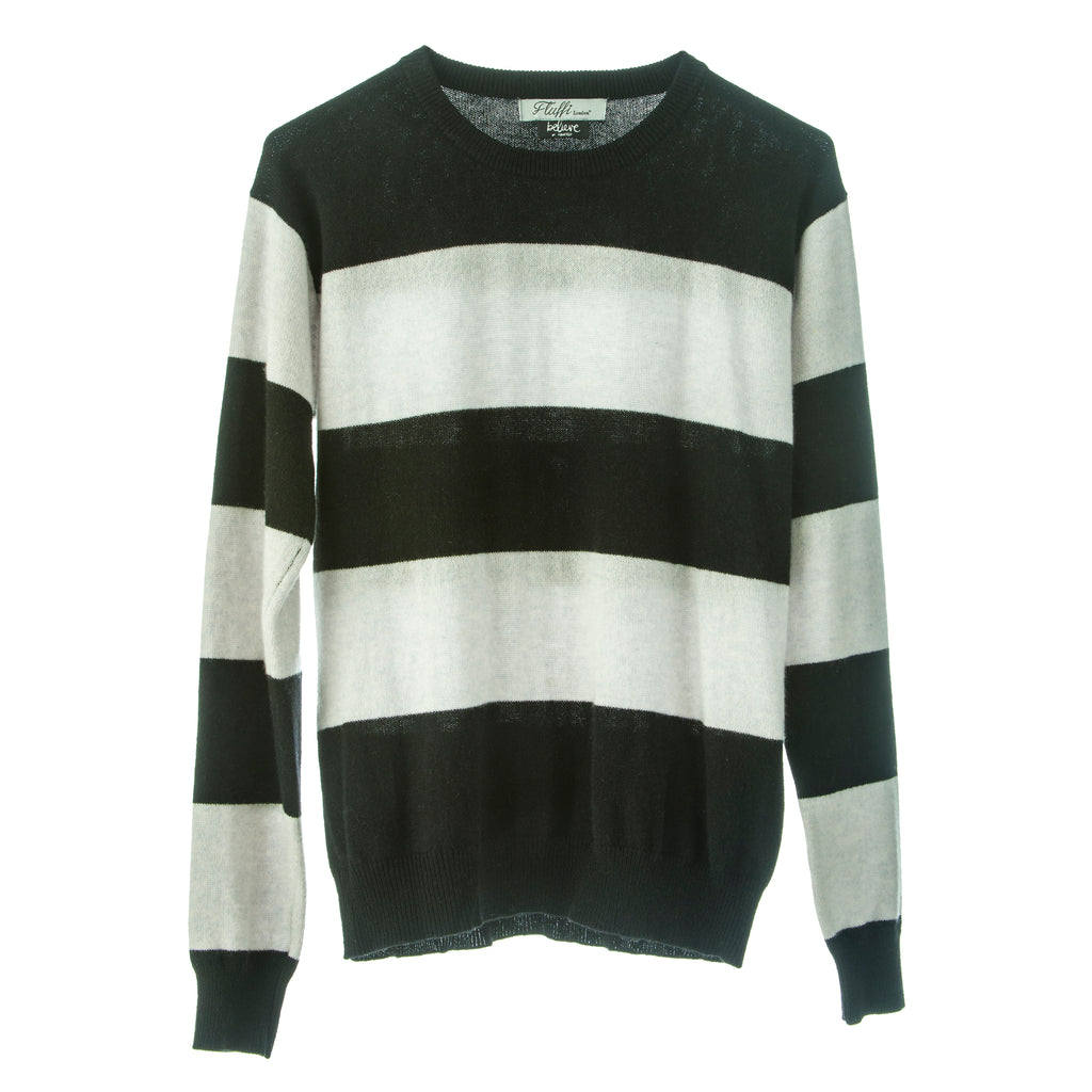 Angelina 100% Mongolian Cashmere light jumper in striped design, easy fit
