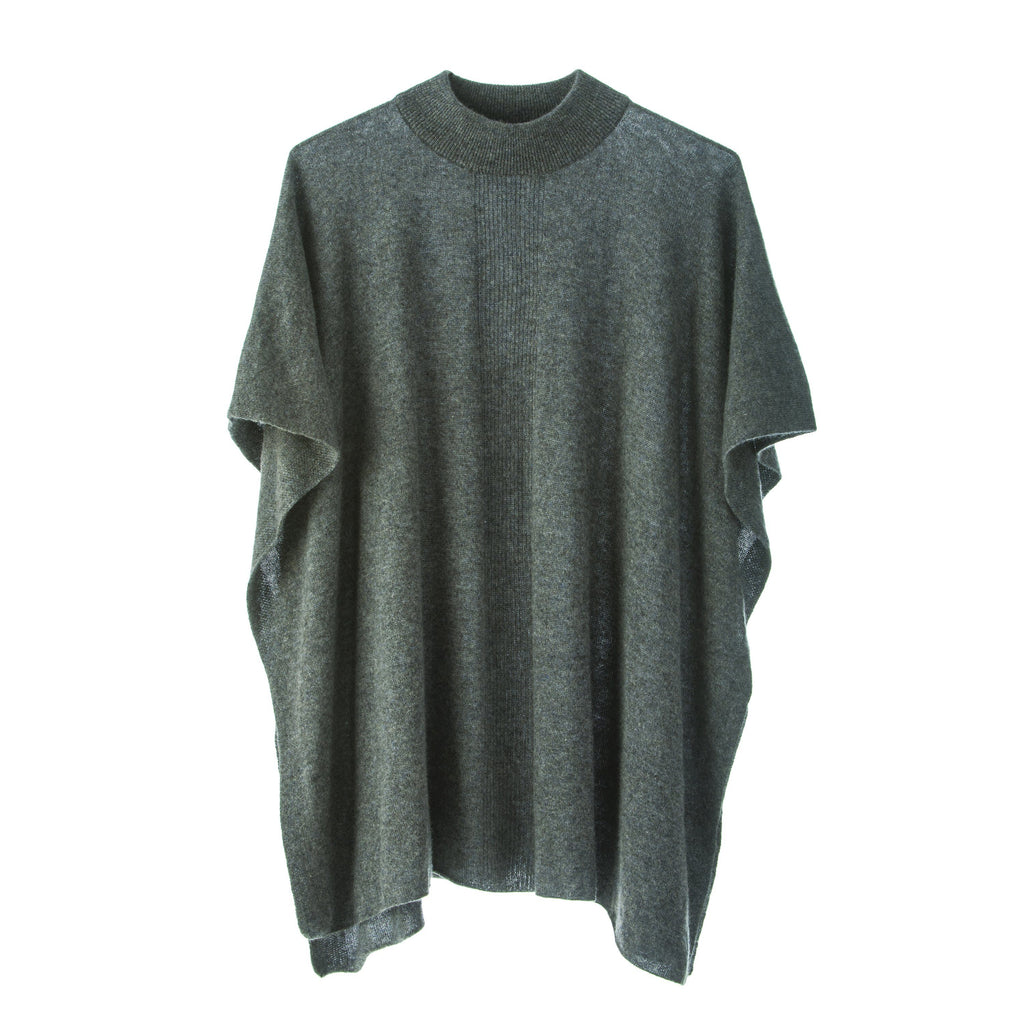 Jacqueline Superfine Poncho.Charcoal