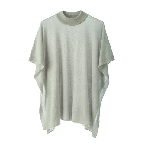 Jacqueline Superfine Poncho.Light Grey