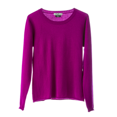 Polo Jumper,100% Mongolian Cashmere light weight jumper ,loose fit round neck ,fuchsia