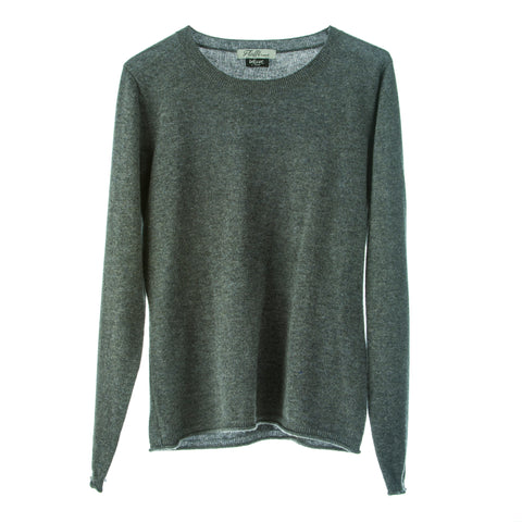 Polo Jumper,100% Mongolian Cashmere light weight jumper ,loose fit round neck ,Charcoal Grey