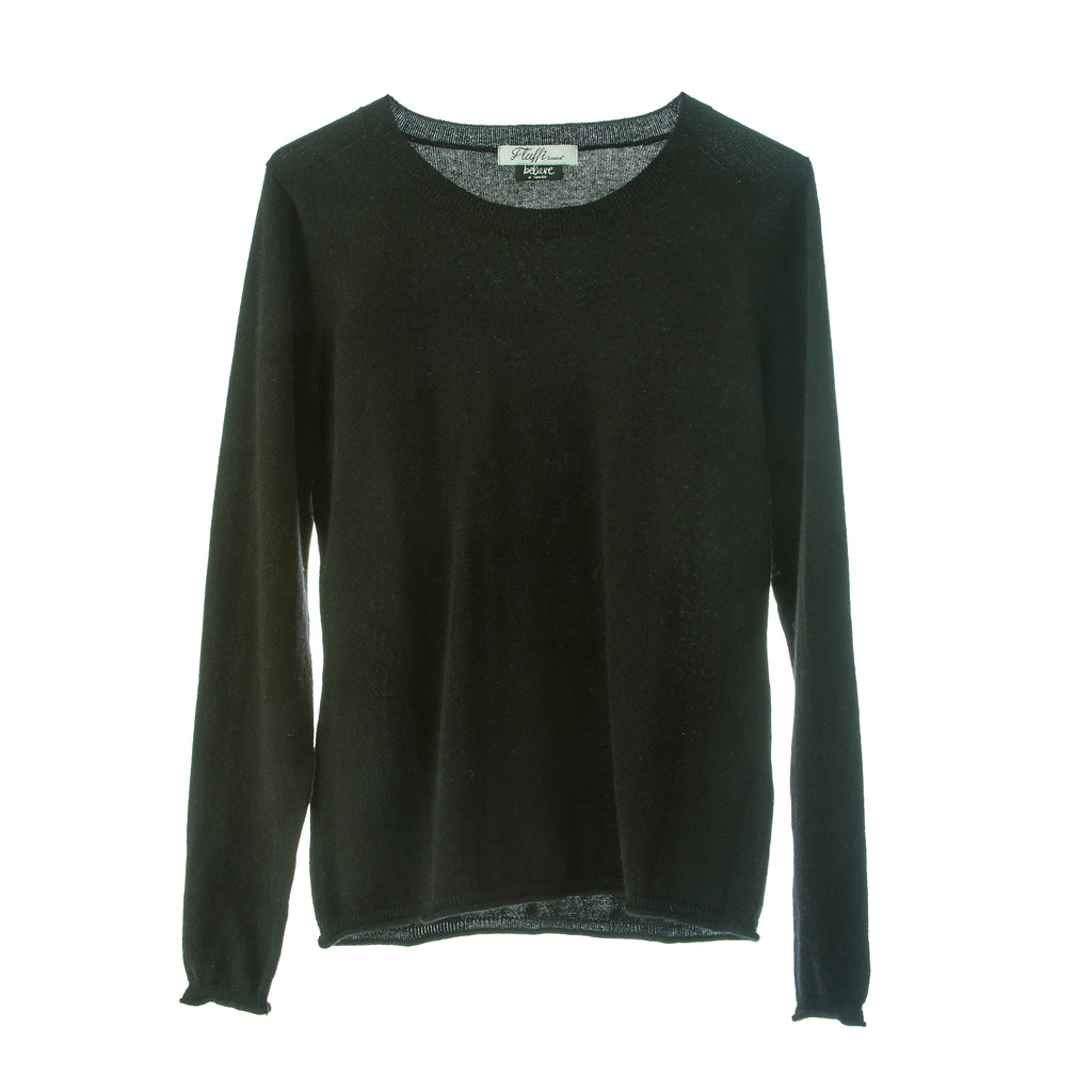 Polo Jumper,100% Mongolian Cashmere light weight jumper ,loose fit round neck ,Black
