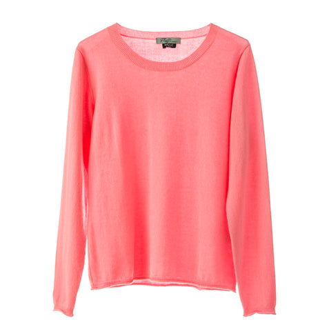 Polo Jumper,100% Mongolian Cashmere light weight jumper ,loose fit round neck ,Baby Pink