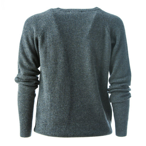 Superfine Cashmere men's jumper, fine ribbed knit design and front collar detailing.