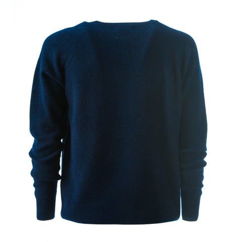 Superfine Cashmere men's jumper fine ribbed knit design and front collar detailing.