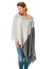 100% Mongolian Cashmere Luxury Poncho with a design twist long length ,two colour wrap poncho can also be worn as a scarf.