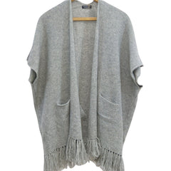 Cashmere short sleeved  cardigan with front pockets ,newest design,added tassles to bottom edge of cardigan,frost grey colour