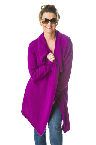 Emma ,100% Mongolian cashmere cardigan long length ,open style with ruffle neck.